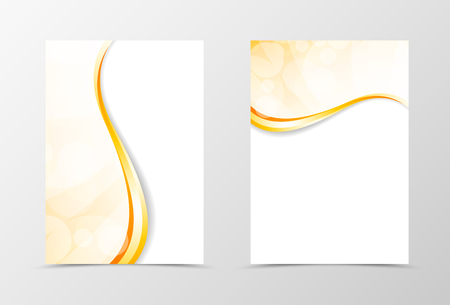 golden light: Front and back light smooth flyer template design. Abstract template with golden lines in wavy style. Vector illustration