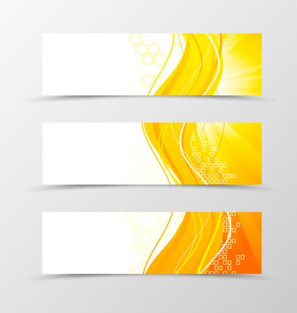 yellow orange: Set of header banner wave design with orange lines and digital dynamic square and hexagon background in technologic style. Vector illustration Illustration