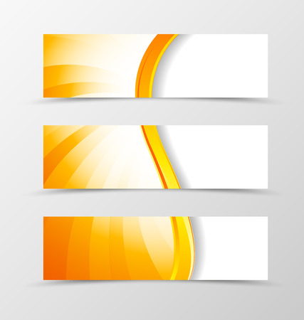 yellow orange: Set of header banner dynamic wave design with orange lines in shiny style. Vector illustration