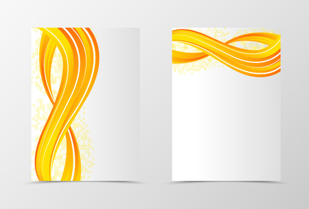 Front and back dynamic wave flyer template design. Abstract template with orange lines and digital futuristic geometric square background. Vector illustration