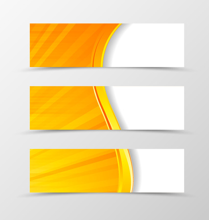 yellow orange: Set of header banner digital wave design with golden and red lines in orange color and futuristic shiny style. Vector illustration