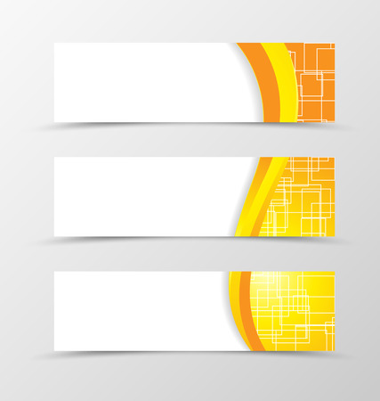yellow orange: Set of header banner technologic design with with orange and yellow lines and digital geometric square background in wave style. Vector illustration