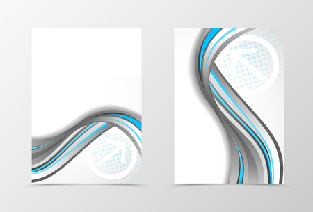 blue design: Front and back dynamic wave flyer template design. Abstract template with blue and gray lines and digital futuristic background with halftone effect. Vector illustration Illustration