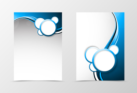 Front And Back Dynamic Wave Flyer Template Design. Abstract Template ...