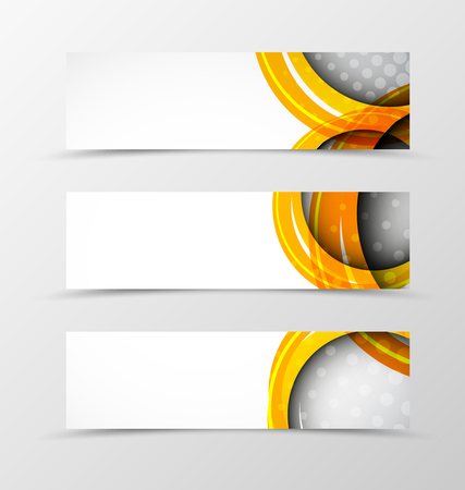 set of banners with orange circle. Vector illustration