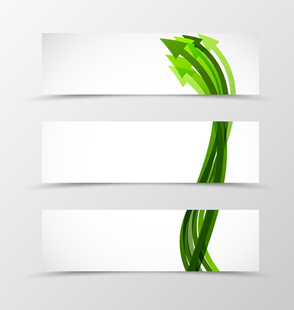 green arrows: Set of header banner dynamic design with green arrows in wave smooth style. Vector illustration Illustration