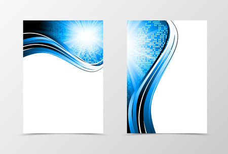 radiant light: Front and back dynamic wave flyer template design. Abstract template with blue lines and digital geometric mosaic square background with radiant effect. Vector illustration