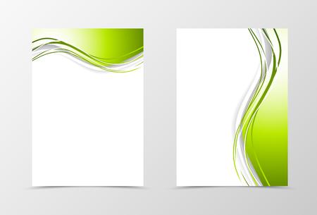 フロントとバックの動的波チラシ テンプレート デザイン。緑と白の線を持つ抽象的なテンプレート。ベクトル図