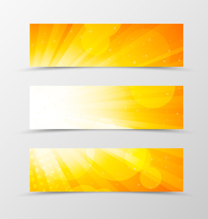 yellow orange: Set of header banner dynamic design in orange colors with stars, circles and halftone effect in shiny style. Vector illustration Illustration