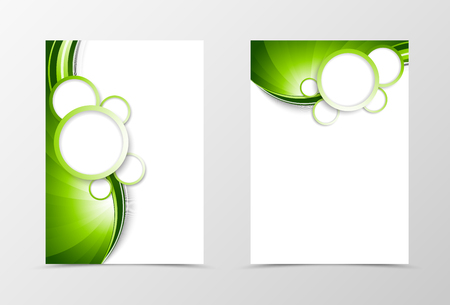 green lines: Front and back dynamic wave flyer template design. Abstract template with green lines and white bubbles in futuristic smooth style. Vector illustration Illustration