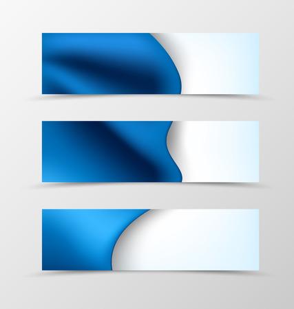 header image: Set of header banner dynamic wave design with luxury blue cloth in elegant style. Vector illustration Illustration