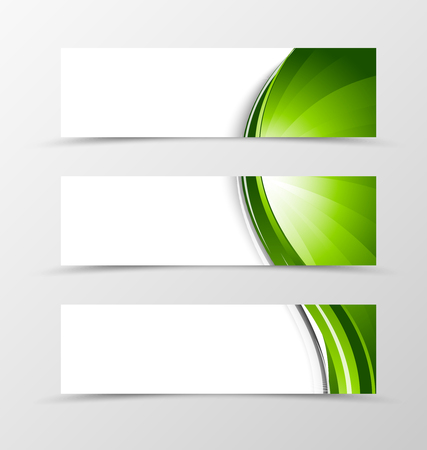 green lines: Set of header banner wave design with green lines in dynamic smooth style. Vector illustration