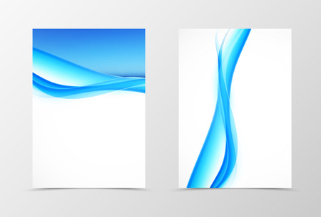 style template: Front and back smooth wave flyer template design. Abstract template with blue lines in dynamic style. Vector illustration Illustration