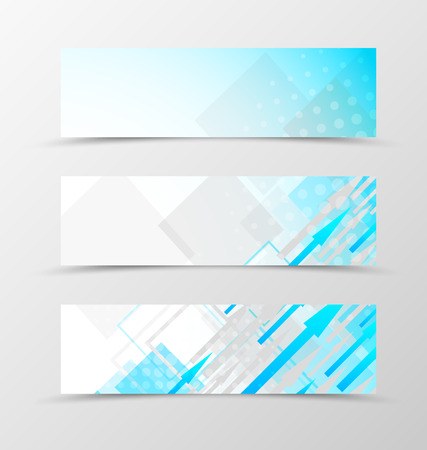 blue light background: Set of header banner dynamic geometric design with blue and gray arrows and squares with halftone effect in digital style. Vector illustration