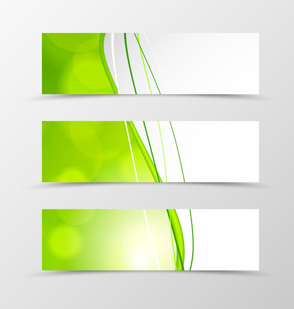 Set of header banner dynamic wave design with green lines and transparent circles in acid style. Vector illustration Ilustração