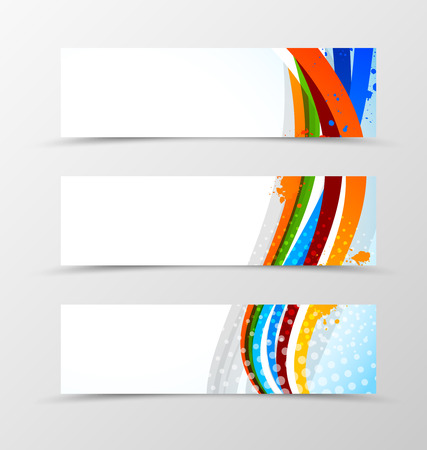 light effect: Set of header banner wave design with colorful lines with halftone effect in grunge style. Vector illustration Illustration