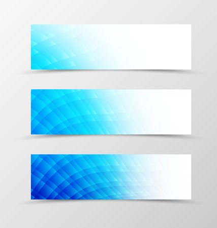 blue light: Set of header banner smooth design with blue mosaic in light style. Vector illustration Illustration
