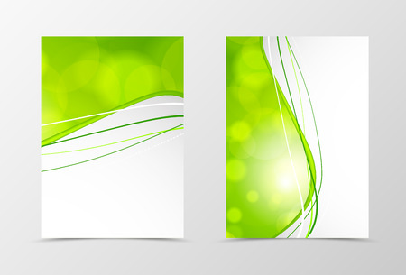 Anteriore e posteriore modello di progettazione dinamico onda volantino. Abstract modello con linee verdi e cerchi trasparenti in stile acido. illustrazione di vettore Vettoriali