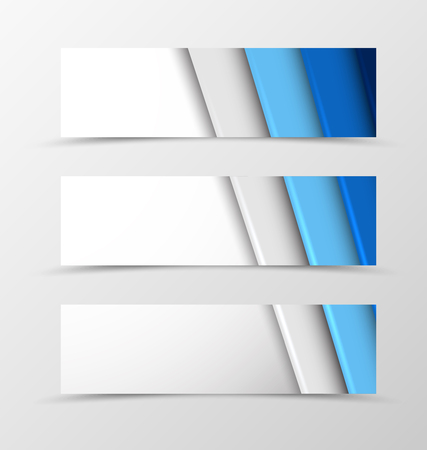 blue lines: Set of header banner material design with blue and gray lines in geometric digital style. Vector illustration