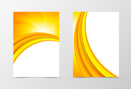 Front and back dynamic wave flyer template design. Abstract template with orange lines in smooth swirl style. Vector illustration