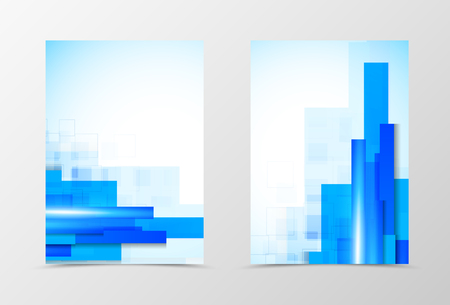 blue lines: Front and back digital flyer template design. Abstract template with blue lines in futuristic style. Vector illustration Illustration
