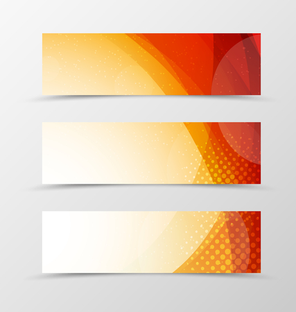 Set of header banner wave design with orange lines, transparent circles and halftone effect in light style. Vector illustration