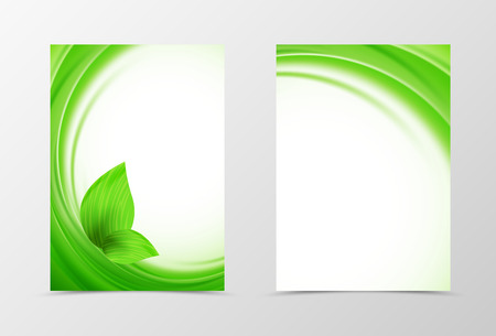 Front and back wave flyer template design. Abstract template with green lines and leaves in soft style. Vector illustration