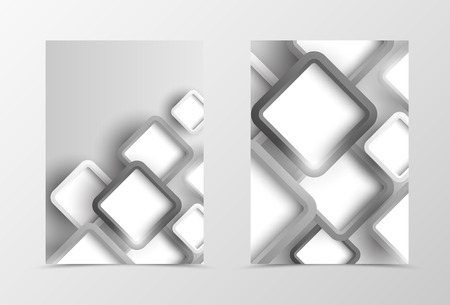style template: Front and back geometric flyer template design. Abstract template with gray squares in digital style. Vector illustration Illustration