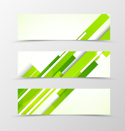 Set of header banner digital design with green lines in futuristic style. Vector illustration