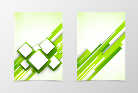Front and back digital flyer template design. Abstract template with green lines and squares in futuristic style. Vector illustration