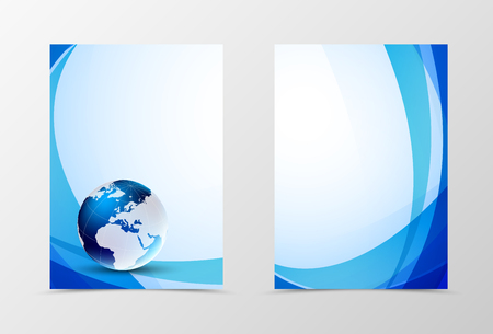 brochure cover design: Front and back futuristic flyer template design. Abstract template with blue lines and globo in tech style. Vector illustration