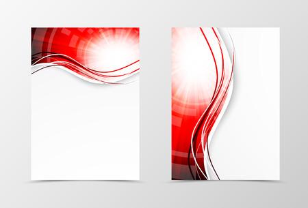 rojo: Diseño frontal y plantilla de volante ondulado hacia atrás. Resumen plantilla con líneas rojas en estilo remolino digital. ilustración vectorial Vectores