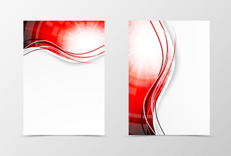 Front and back wavy flyer template design. Abstract template with red lines in digital swirl style. Vector illustration Illustration