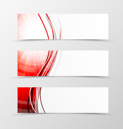 red swirl: Set of header banner wavy design with red lines in digital swirl style. Vector illustration