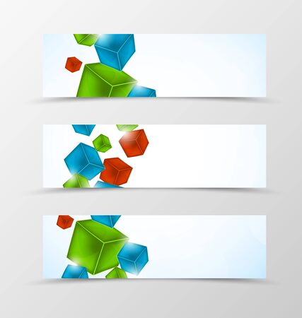 green technology: Set of header banner geometric design with colorful 3d cubes in dynamic style. Vector illustration