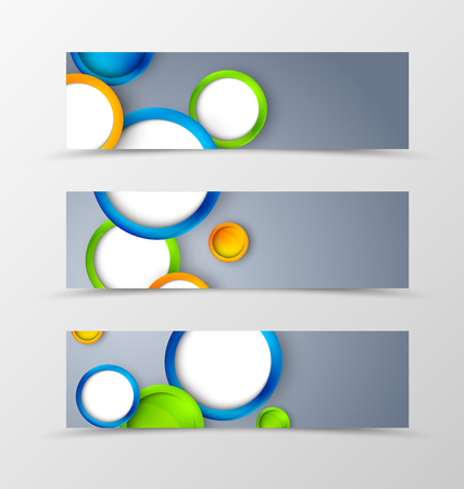 green banner: Set of header banner geometric design with colorful circles in dynamic style. Vector illustration