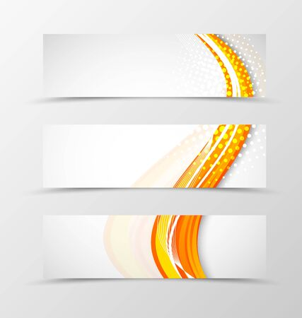 banner effect: Set of header banner wave design with orange lines and halftone effect in bright style. Vector illustration Illustration