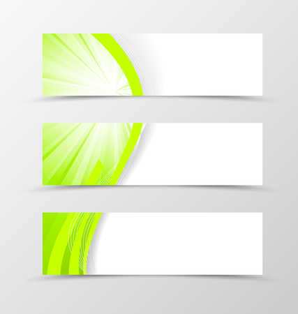 green lines: Set of header banner wavy design with green lines in vortex style. Vector illustration