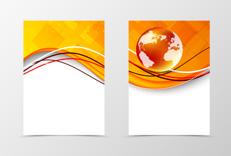 Front and back technologic wavy flyer template design. Abstract template with orange waves and globe in digital style. Vector illustration Illustration