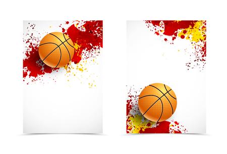 Avant et conception numérique arrière flyer template. Abstract template dans les couleurs rouge et orange avec le basket-ball dans le style grunge. Vector illustration