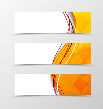 Set of header banner technologic wavy design with orange waves in digital style. Vector illustration