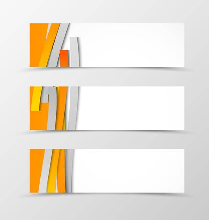 minimalistic: Set of header banner minimalistic design with orange and gray ribbons in weaving style. Vector illustration