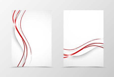 フロントとバックの波チラシ テンプレート デザイン。ミニマルなスタイルで白と赤の線を持つ抽象的なテンプレート。ベクトル図