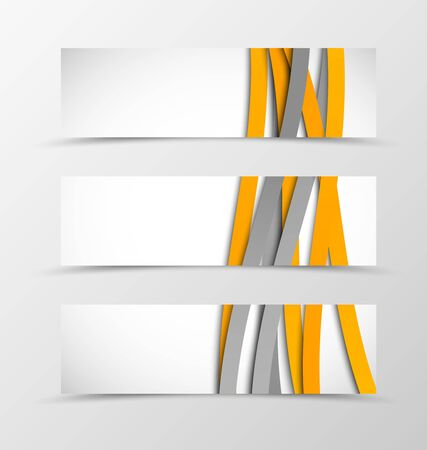 weaving: Set of header banner wave design with orange and gray lines in weaving style. Vector illustration