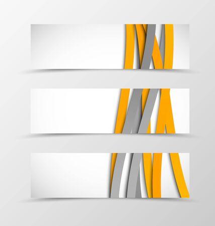 header image: Set of header banner wave design with orange and gray lines in weaving style. Vector illustration