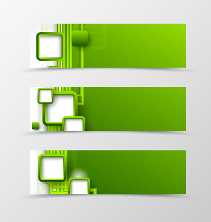 green banner: Set of header banner digital design with green lines and squares in futuristic style. Vector illustration Illustration