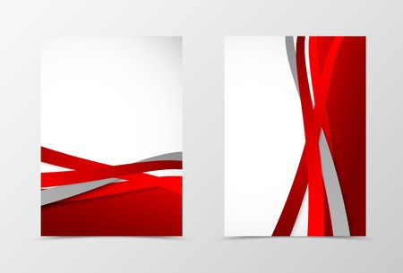 lines vector: Front and back wavy flyer template design. Abstract template with red and gray bend lines in bright dynamic style. Vector illustration