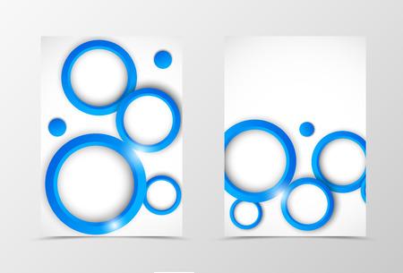 carpeta: Diseño frontal y posterior de viajero plantilla geométrica. Resumen plantilla con círculos azules en estilo dinámico. ilustración vectorial Vectores