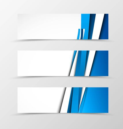 dynamic movement: Set of header banner dynamic design with blue lines in light style. Vector illustration