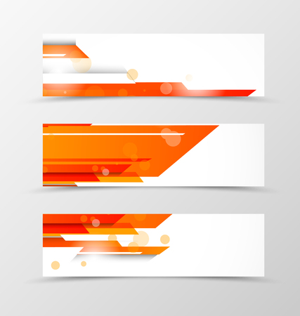 Set of header banner tech design with orange straight lines and transparent circles in digital style. Vector illustration